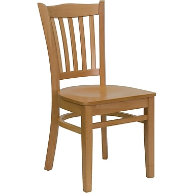 Flash Furniture Hercules Series Vertical Slat Back Wooden Restaurant Chair, Natural Wood Finish (XUDGW0008VRTNAT)