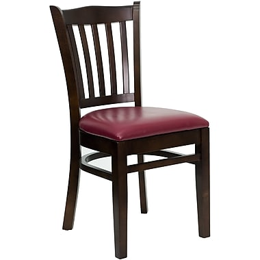 Flash Furniture Hercules Series Walnut Wood Vertical Slat Back Restaurant Chair, Burgundy Vinyl Seat, 4/Pack