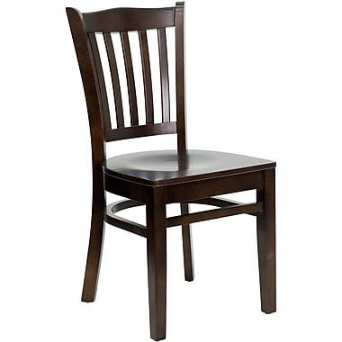 Flash Furniture Hercules Series Walnut Wood Vertical Slat Back Restaurant Chair, 4/Pack