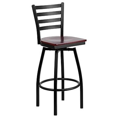 Flash Furniture HERCULES Series Black Ladder Back Swivel Metal Bar Stool, Mahogany Wood Seat