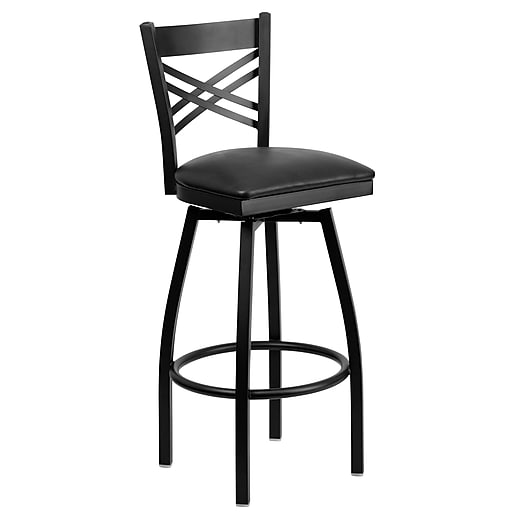"Flash Furniture HERCULES Series Black ""X"" Back Swivel Metal Bar Stool, Black Vinyl Seat, 2/Pack"
