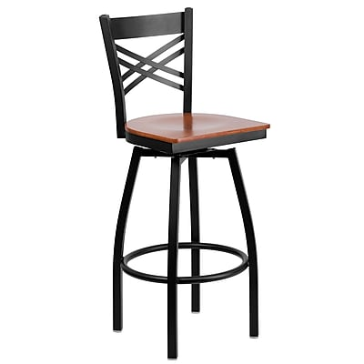 "Flash Furniture HERCULES Series Black ""X"" Back Swivel Metal Bar Stool, Cherry Wood Seat"
