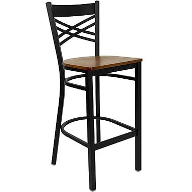Flash Furniture HERCULES Black ''X'' Back Metal Restaurant Bar Stools W/Wood Seat