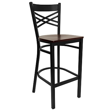 Flash Furniture – Tabouret de bar pour restaurant HERCULES en métal noir, dossier à traverses en « X », assise en acajou