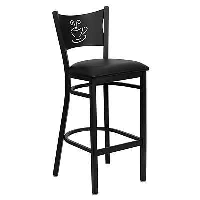 Flash Furniture HERCULES Series Black Coffee Back Metal Restaurant Bar Stool, Black Vinyl Seat