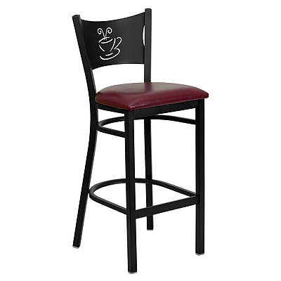 Flash Furniture HERCULES Series Black Coffee Back Metal Restaurant Bar Stool, Burgundy Vinyl Seat