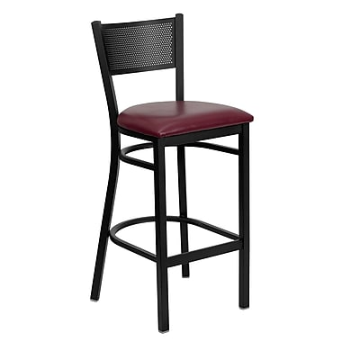 Flash Furniture – Tabouret de bar/restaurant Hercules en métal noir, dossier noir grillagé, assise en vinyle bourgogne