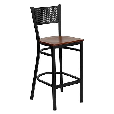 Flash Furniture HERCULES Series Black Grid Back Metal Restaurant Bar Stool, Cherry Wood Seat