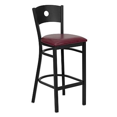 Flash Furniture HERCULES Series Black Circle Back Metal Restaurant Bar Stool, Burgundy Vinyl Seat