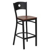 Flash Furniture HERCULES Series Black Circle Back Metal Restaurant Bar Stool, Cherry Wood Seat
