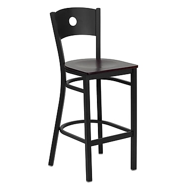 Flash Furniture Hercules Series Black Circle Back Metal Restaurant Bar Stool, Mahogany Wood Seat