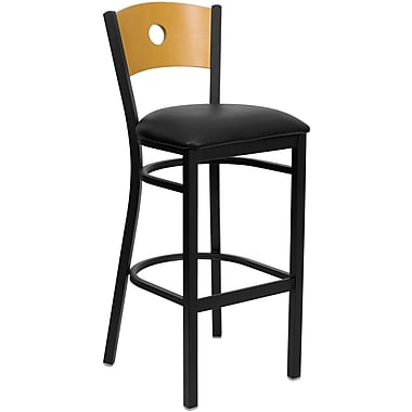 Flash Furniture HERCULES Series Black Circle Back Metal Restaurant Bar Stool, Natural Wood Back, Black Vinyl Seat