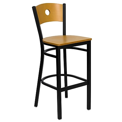 Flash Furniture HERCULES Natural Circle Back Metal Restaurant Bar Stool W/Wood Seat, Natural