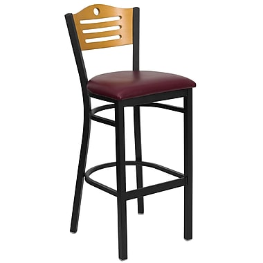 Flash Furniture HERCULES Series Black Slat Back Metal Restaurant Bar Stool, Natural Wood Back, Burgundy Vinyl Seat