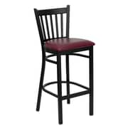 Flash Furniture HERCULES Series Black Vertical Back Metal Restaurant Bar Stool, Burgundy Vinyl Seat