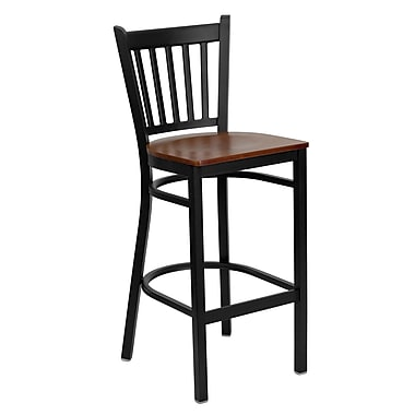 Flash Furniture HERCULES Series Black Vertical Back Metal Restaurant Bar Stool, Cherry Wood Seat