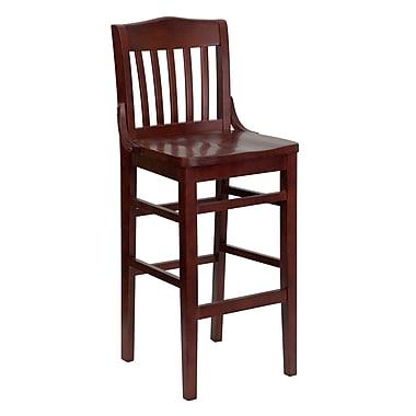 Flash Furniture – Tabouret de bar/restaurant au dossier à lattes verticales de la série Hercules, acajou