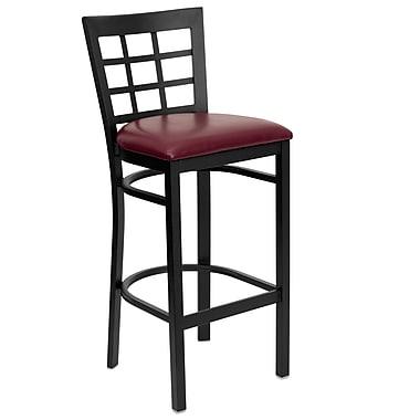 Flash Furniture Hercules Series Black Window Back Metal Restaurant Bar Stool, Burgundy Vinyl Seat