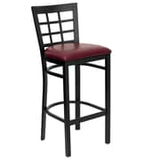 Flash Furniture HERCULES Black Window Back Metal Restaurant Bar Stool W/Vinyl Seat, Burgundy