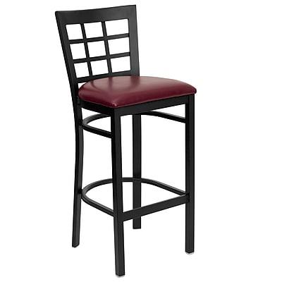 Flash Furniture HERCULES Black Window Back Metal Restaurant Bar Stool W/Vinyl Seat, Burgundy