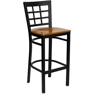Flash Furniture Hercules Series Black Window Back Metal Restaurant Bar Stool, Cherry Wood Seat