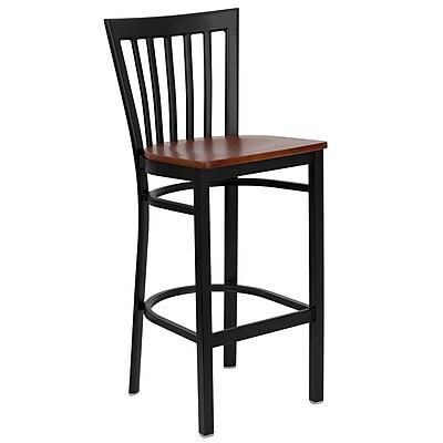Flash Furniture HERCULES Series Black School House Back Metal Restaurant Bar Stool, Cherry Wood Seat