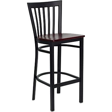 Flash Furniture – Tab. de bar pour restaurant HERCULES en métal noir, dossier à traverses verticales, assise en acajou