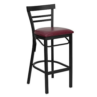 Flash Furniture – Tabouret de bar/restaurant Hercules en métal noir, dossier horizontal, assise en vinyle bourgogne