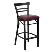 Flash Furniture HERCULES Black Ladder Back Metal Restaurant Bar Stool W/Vinyl Seat, Burgundy