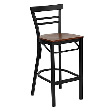 Flash Furniture – Tabouret de bar pour restaurant HERCULES en métal noir, dossier à traverses horizontales, assise en cerisier