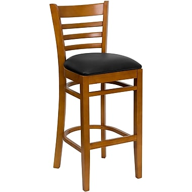 Flash Furniture HERCULES Series Cherry Wood Ladder Back Restaurant Bar Stool, Black Vinyl Seat