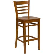 Flash Furniture HERCULES Cherry Ladder Back Wood Restaurant Bar Stool, Cherry