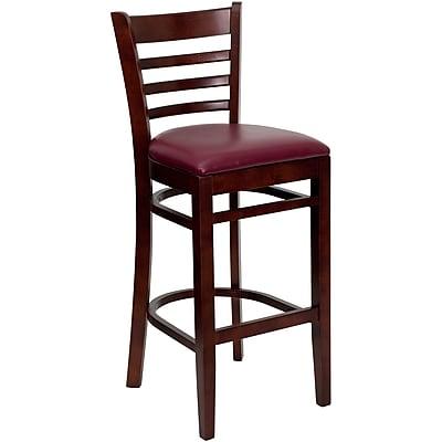 Flash Furniture HERCULES Mahogany Ladder Back Wood Restaurant Bar Stool W/Vinyl Seat, Burgundy