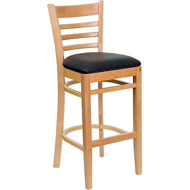 Flash Furniture Hercules Series Natural Wood Ladder Back Restaurant Bar Stool, Black Vinyl Seat