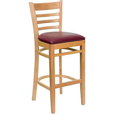 Flash Furniture Hercules Series Natural Wood Ladder Back Restaurant Bar Stool, Burgundy Vinyl Seat
