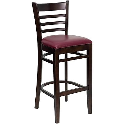 Flash Furniture HERCULES Walnut Ladder Back Wood Restaurant Bar Stool W/Vinyl Seat, Burgundy