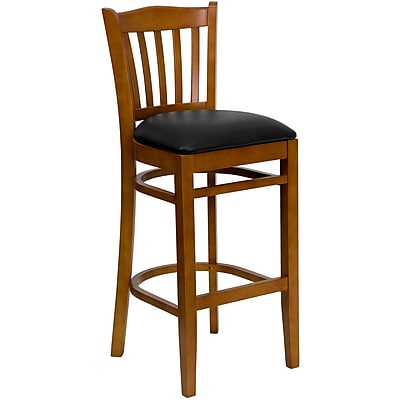 Flash Furniture HERCULES Series Cherry Wood Vertical Slat Back Restaurant Bar Stool, Black Vinyl Seat