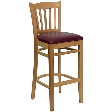 Flash Furniture HERCULES Series Natural Wood Vertical Slat Back Restaurant Bar Stool, Burgundy Vinyl Seat