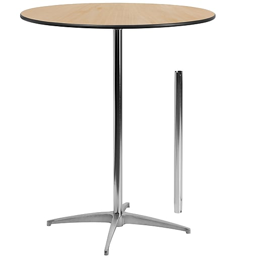 Flash Furniture 36'' Round Wood Cocktail Table with 30'' and 42'' Columns, Birchwood
