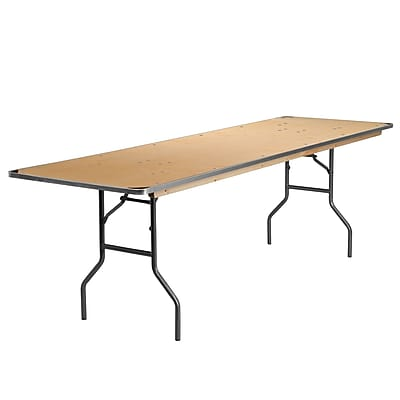 """Flash Furniture 96"""" Folding Banquet Table with Metal Edges and Protective Corner Guards, Beige (XA3096BIRCHM)"""