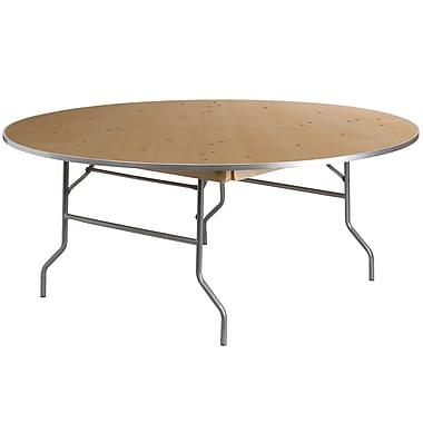Flash Furniture – Table de banquet pliante de 72 po de diamètre avec rebords en métal, bois clair (XA72BIRCHM)