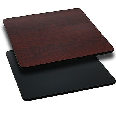 Flash Furniture 24'' Square Laminate Table Top, Black/Mahogany (XUMBT2424)