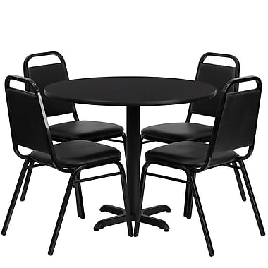 Flash Furniture, 36'' Round Black Laminate Table Set with X-Base and 4 Black Trapezoidal Back Banquet Chairs