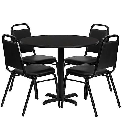 Flash Furniture 36'' Round Black Laminate Table Set with X-Base and 4 Black Trapezoidal Back Banquet Chairs
