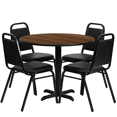 Flash Furniture, 36'' Round Walnut Laminate Table Set with X-Base and 4 Black Trapezoidal Back Banquet Chairs