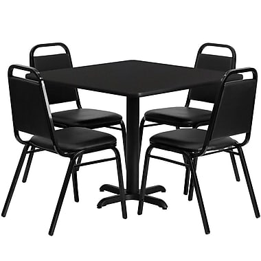 Flash Furniture, 36'' Square Black Laminate Table Set with X-Base and 4 Black Trapezoidal Back Banquet Chairs