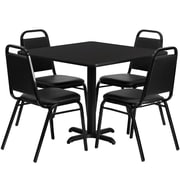 Flash Furniture 36'' Square Black Laminate Table Set with X-Base and 4 Black Trapezoidal Back Banquet Chairs