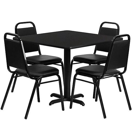 Flash Furniture 36'' Square Laminate Table Set W/4 Trapezoidal Back Banquet X-Base Chairs (HDBF1009)