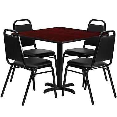 Flash Furniture 36'' Square Mahogany Laminate Table Set with X-Base and 4 Black Trapezoidal Back Banquet Chairs