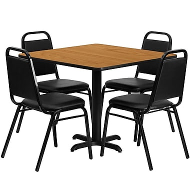 Flash Furniture 36'' Square Natural Laminate Table Set with X-Base and 4 Black Trapezoidal Back Banquet Chairs